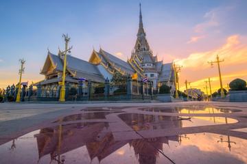 Wat Sothon Wararam Worawihan at dusk, Chachoengsao, Thailand