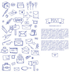 Hand drawn doodle Postal elements icon set. Vector illustration. Isolated post symbols collection. Cartoon various mail element: letter, envelope, stamp, post box, package, delivery truck, pigeon.