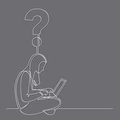 continuous line drawing of woman sitting with computer laptop working on question