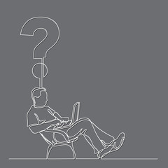 continuous line drawing of man sitting working on laptop computer on a question