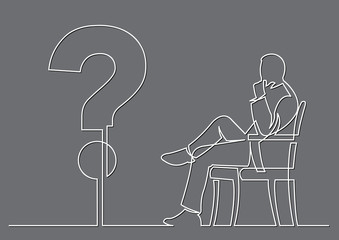 continuous line drawing of businessman sitting thinking about a question