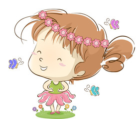 Kid Girl Ballerina Floral Butterflies
