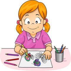 Kid Girl Colored Pencil Activity