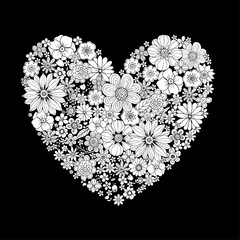 Heart shape flower for adult coloring book vector