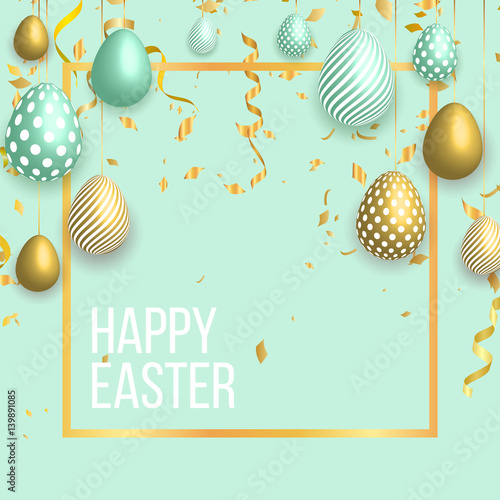 happy easter template with gold ribbon and eggs bunny ears dotted