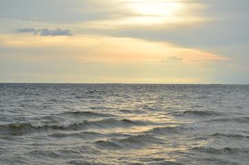 Beautiful sunset on the beach in Pattaya, Thailand