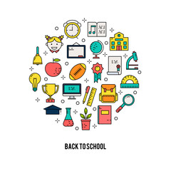 Illustration of symbols school items icon.