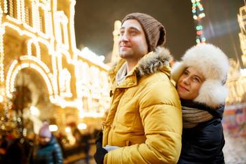Beautiful lovers on winter walk