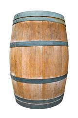 Oak wine barrel isolate on white wit clipping path