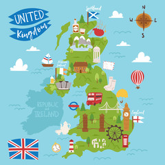 United kingdom great britain map travel city tourism transportation on blue ocean europe cartography and national landmark england famous flag vector illustration.