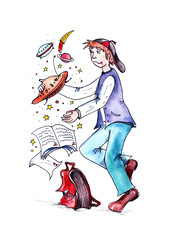 Watercolor illustration for children. A boy is playing with a spaceship. Bad evaluation in the school diary. Apprentice is a bully