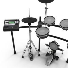 Electronic Drum Kit on white. 3D illustration