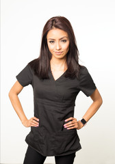 Attractive woman wearing scrubs.
