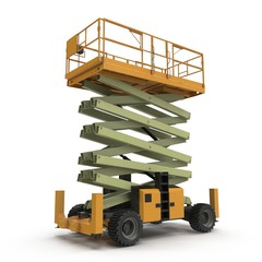 Mobile aerial work platform - Yellow scissor hydraulic self propelled lift on a white. 3D illustration