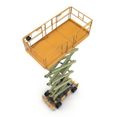 Engine Powered Scissor Lift on white. Angle from up. 3D illustration