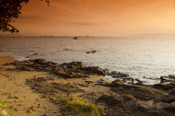 landscape of the beach on beautiful lagoon