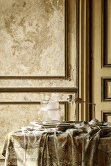 retro gold background and decorative wall table and ornaments lamp and book interior style
