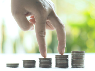 Stack coins , Financial concept