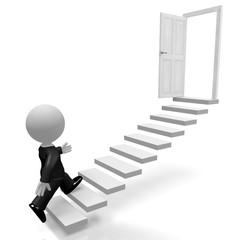 3D businessman, steps concept
