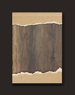 Grunge paper on wooden wall, Vector illustration design in A4 size ( Image trace of wooden background )