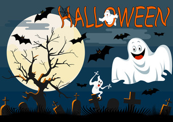 Ghosts  with Halloween background. Vector illustration