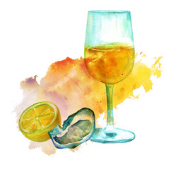 Wine with oyster and lemon on colorful texture