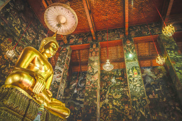 Buddha gold statue on the art history background patterns in temple Thailand.
