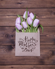 Happy Mother's day! Letter with pink tulis