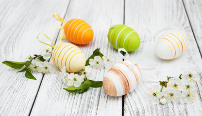 Easter eggs and cherries blossom