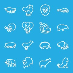 Set of 16 zoo outline icons