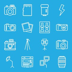 Set of 16 photo outline icons