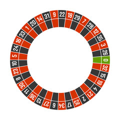 Roulette Casino Wheel Template with Zero on White Background. Vector