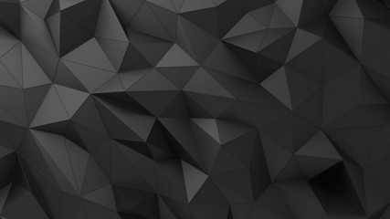 Low-poly background. Black abstract rumpled triangular surface