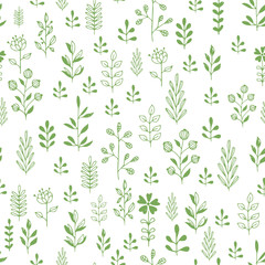 Green herbs seamless pattern. Scandinavian background. Nature style.