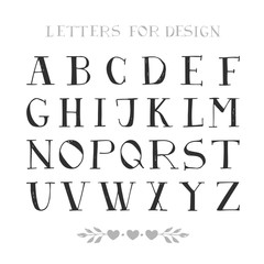 Hand drawn serif font. Script letters for design. Vector. Isolated.