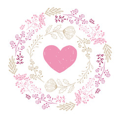Vector heart and wreath. Hand drawn illustration.