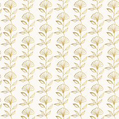 Golden floral background. Hand drawn nature pattern.