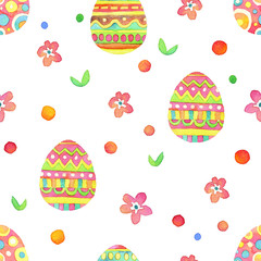Seamless hand drawn watercolor patterns with pastel Easter eggs