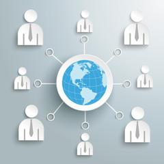 Businessmen Social Network Globe