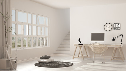 Scandinavian home office, loft workplace, minimalist interior design