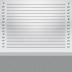 white grey studio with police lineup background, vector illustration