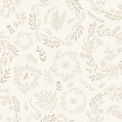 Hand drawn wallpaper seamless pattern. Vintage background.