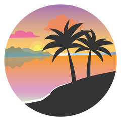 Black silhouette of palm trees in a circle, flat vector. Tropical beach, sunset, vector illustration
