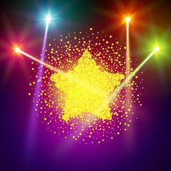Golden star vector banner on light background. Gold template star for banner, vip card. Star Dust. Stardust spark the explosion on background. Vector illustration 3D