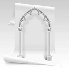 White paper sheet and gothic arch model