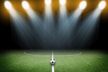 soccer field with spotlight