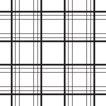 Geometric plaid line black and white minimalistic vector pattern. Checkered background.