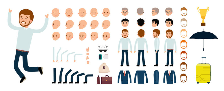 Man character creation set. The clerk, businessman, boss. Icons with different types of faces and hair style, emotions, front, rear side view of male person. Moving arms, legs Vector flat illustration