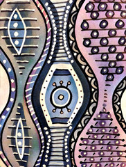 Wave and stripe. Digital illustration on canvas texture