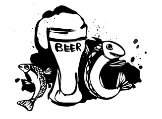Beer and fish is a series of illustrations